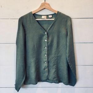 VTG GAP Olive Green 100% linen lightweight Jacket